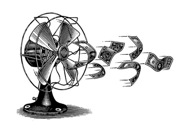 Steven Noble Illustrations: blowing money away
