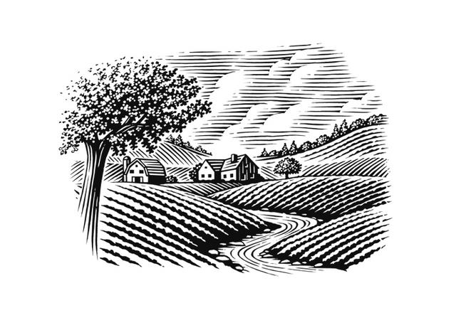 Farm House Woodcut