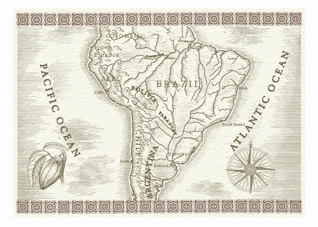 America Map With Compass.Steven Noble Illustrations South America Map