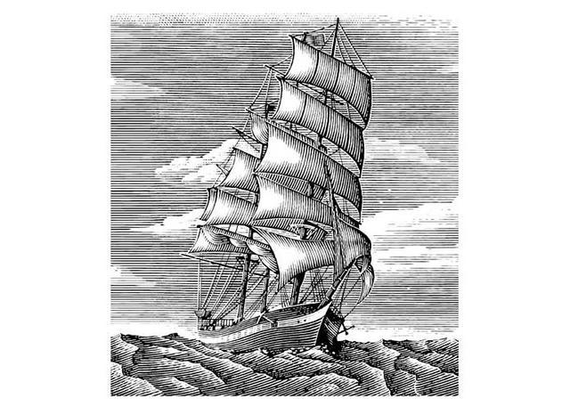 Steven Noble Illustrations Sailing Ship Woodcut