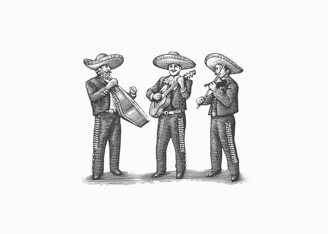 Steven Noble Illustrations Mariachi Band Woodcut