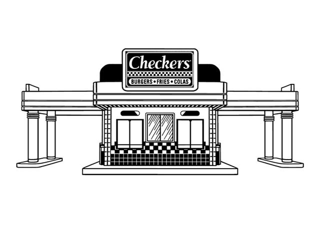 Checkers Building Line Art